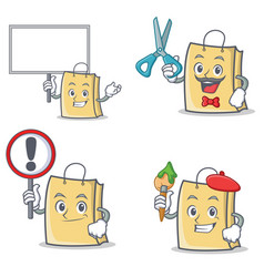 Set of bag character with bring board sign barber vector