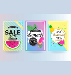 set of summer sale background banner flyer vector image