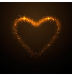 Shine glow gold heart vector
