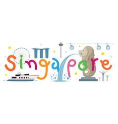 singapore travel and attraction vector image vector image