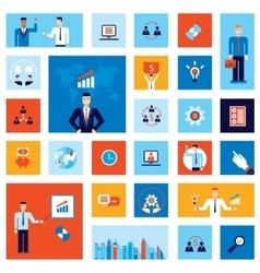 Successful business businessman people icon set vector image