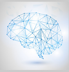 Technology low poly design of human brain vector