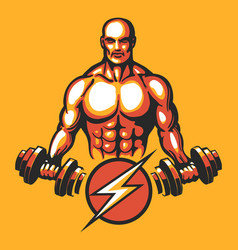 training bodybuilder emblem vector image