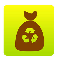 Trash bag icon brown icon at green-yellow vector