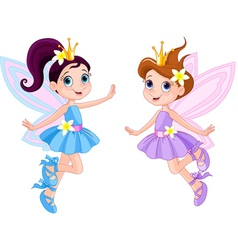 Two cute fairies vector image vector image