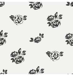 Vintage black and white rose pattern vector