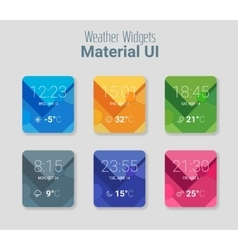 Weather widgets ui and ux material kit vector
