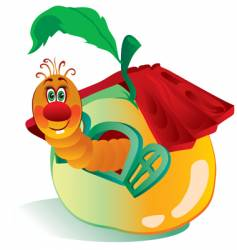 worm in an apple vector image vector image