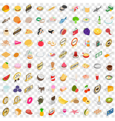 100 grocery shopping icons set isometric 3d style vector