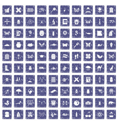 100 insects icons set grunge sapphire vector