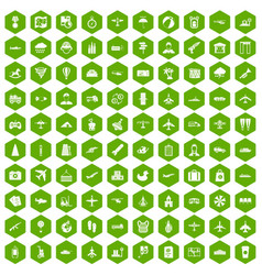 100 plane icons hexagon green vector