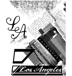 Los angeles usa skyline silhouette black and white vector