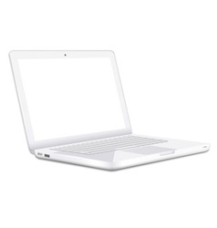 Modern white laptop vector