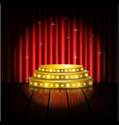 Spotlight golden of empty stage with red curtain vector