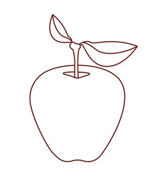 monochrome silhouette of apple fruit with stem and vector image