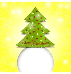 Merry christmas paper green tree vector