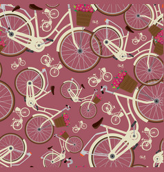 Seamless red pattern with city bicycles vector