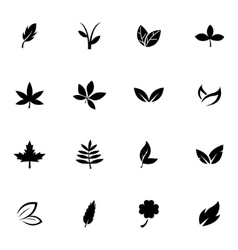 black leaf icons set vector image