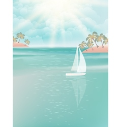 Yacht and blue water ocean EPS 10 vector image