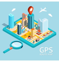 Gps route map city navigation app vector