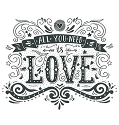Hand drawn vintage print with hand lettering and vector