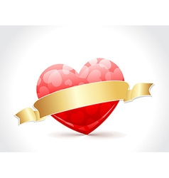 A beautiful valentine card with golden ribbon vector