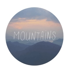 Mountains watercolor painting with sign vector