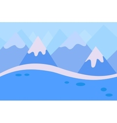 Seamless landscape of blue winter mountain vector