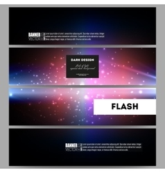 Set of modern banners flashes against dark vector