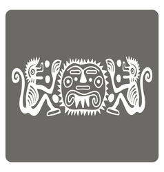 Monochrome icon with american indians art vector
