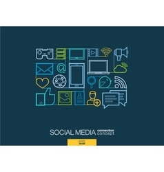 Social media integrated thin line symbols modern vector