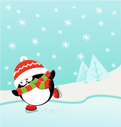 Ice skating penguin vector
