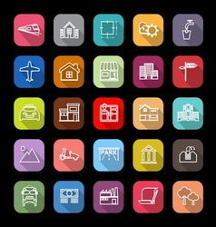 Real estate flat line icons with long shadow vector