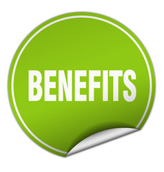 Benefits round green sticker isolated on white vector