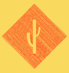 Cactus simple sign red scribble icon vector