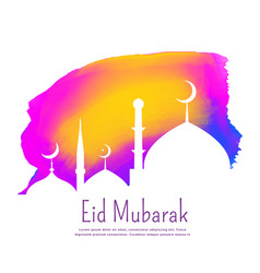 Creative eid festival design with colorful ink vector