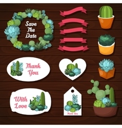 Cute succulents wedding graphic set vector image