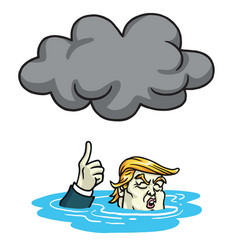 Donald trump under the black cloud smog cartoon vector