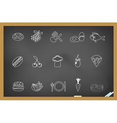 Food icon on blackboard vector