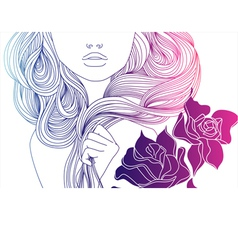 Girl and hair vector
