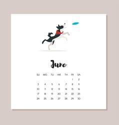 june dog 2018 year calendar vector image