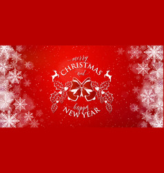 merry christmas and happy new year typography text vector image vector image