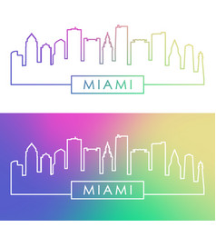 Miami skyline colorful linear style vector