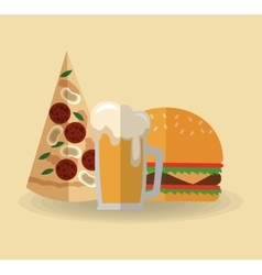 Pizza beer and hamburger design vector
