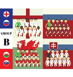 Players with flags GROUP B vector image