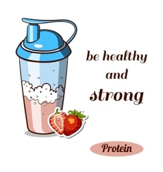 Protein shaker strawberry vector