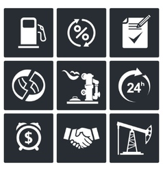 Sale of petroleum products icon set vector