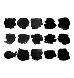 Set of black watercolor stain vector