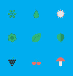 Set of simple gardening icons elements fungus vector