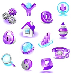 Set of violet web icons vector